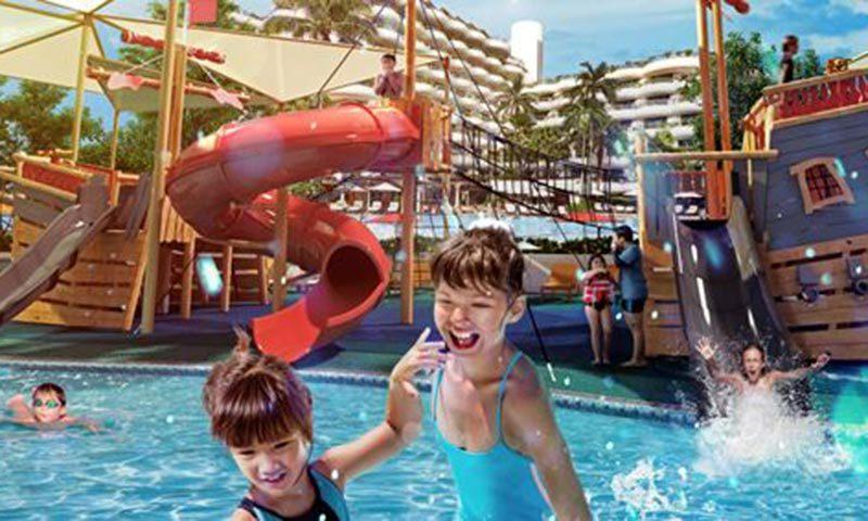 Splash zone at Shangrila Hotel